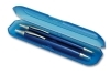 estuche de bol�grafo y portaminas color disponible: azul transparente